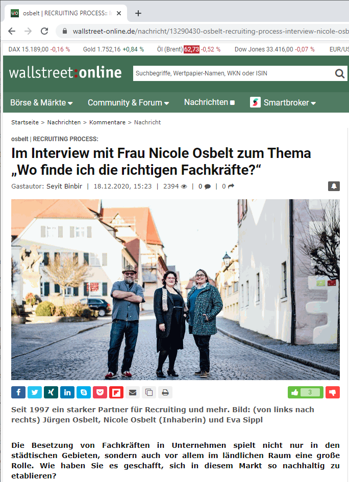 Nicole Osbelt im Interview bei wallstreet-online.de